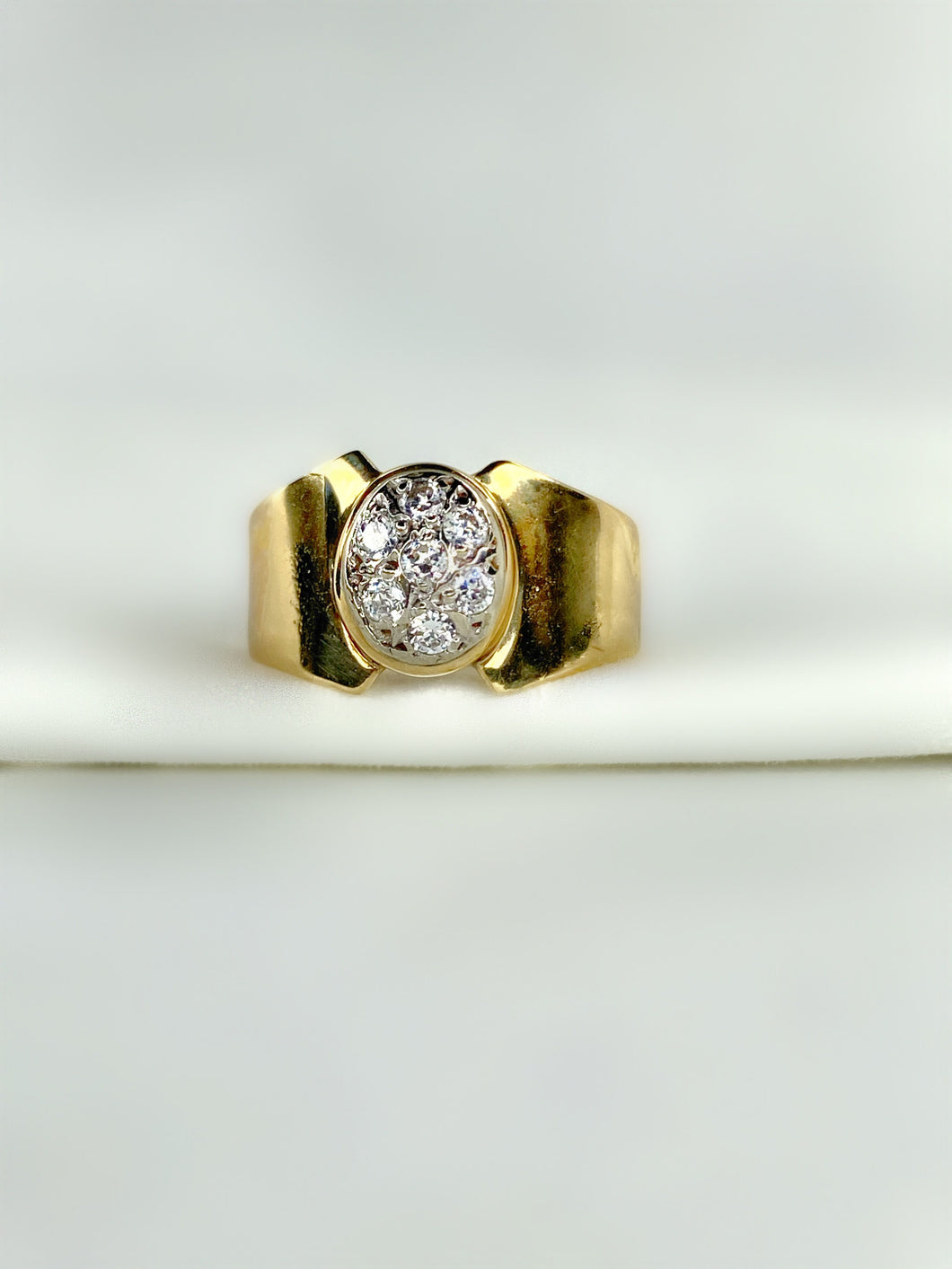 Gold Circle Diamond Pave Ring
