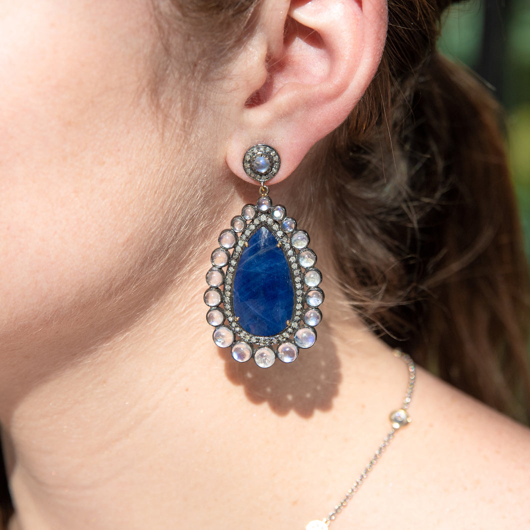 Sapphire and Moonstone Oval Drop Earrings