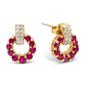 Mini Doorknocker Ruby & Diamond Earrings