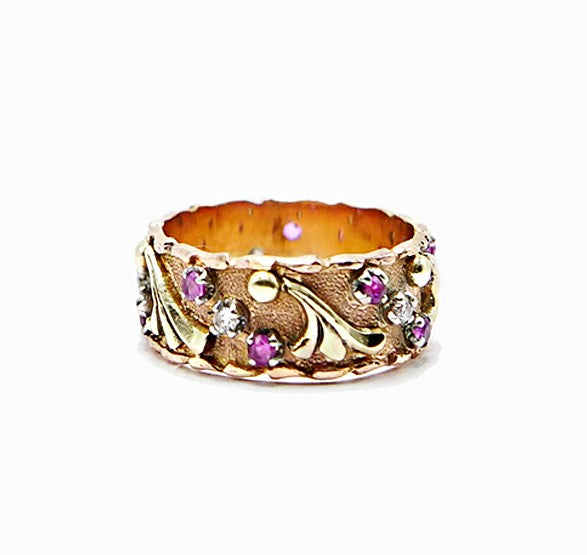 Ornate Ruby Wedding Band