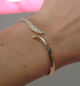 Yellow Gold and Diamond Wave Bracelet