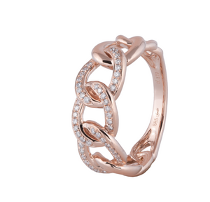 Diamond Chain Link Ring: Rose Gold