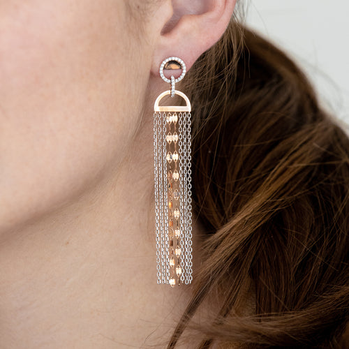 Two Tone Gold and Diamond Drop Earrings