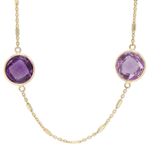 Amethyst Bezel Necklace in 14K Yellow Gold