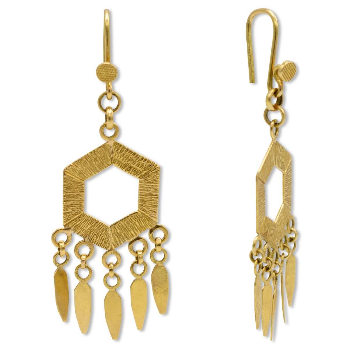 Hexagon Fringe Earrings