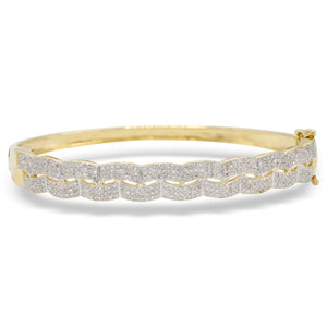 """Wavy"" Pave Diamond Bracelet in 14K Yellow Gold"