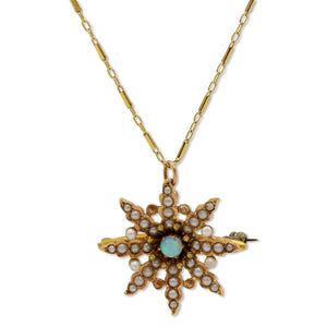 Antique Opal Star Necklace in 14K Yellow Gold