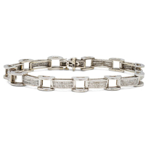 Box & Tread Link Bracelet in 14K White Gold