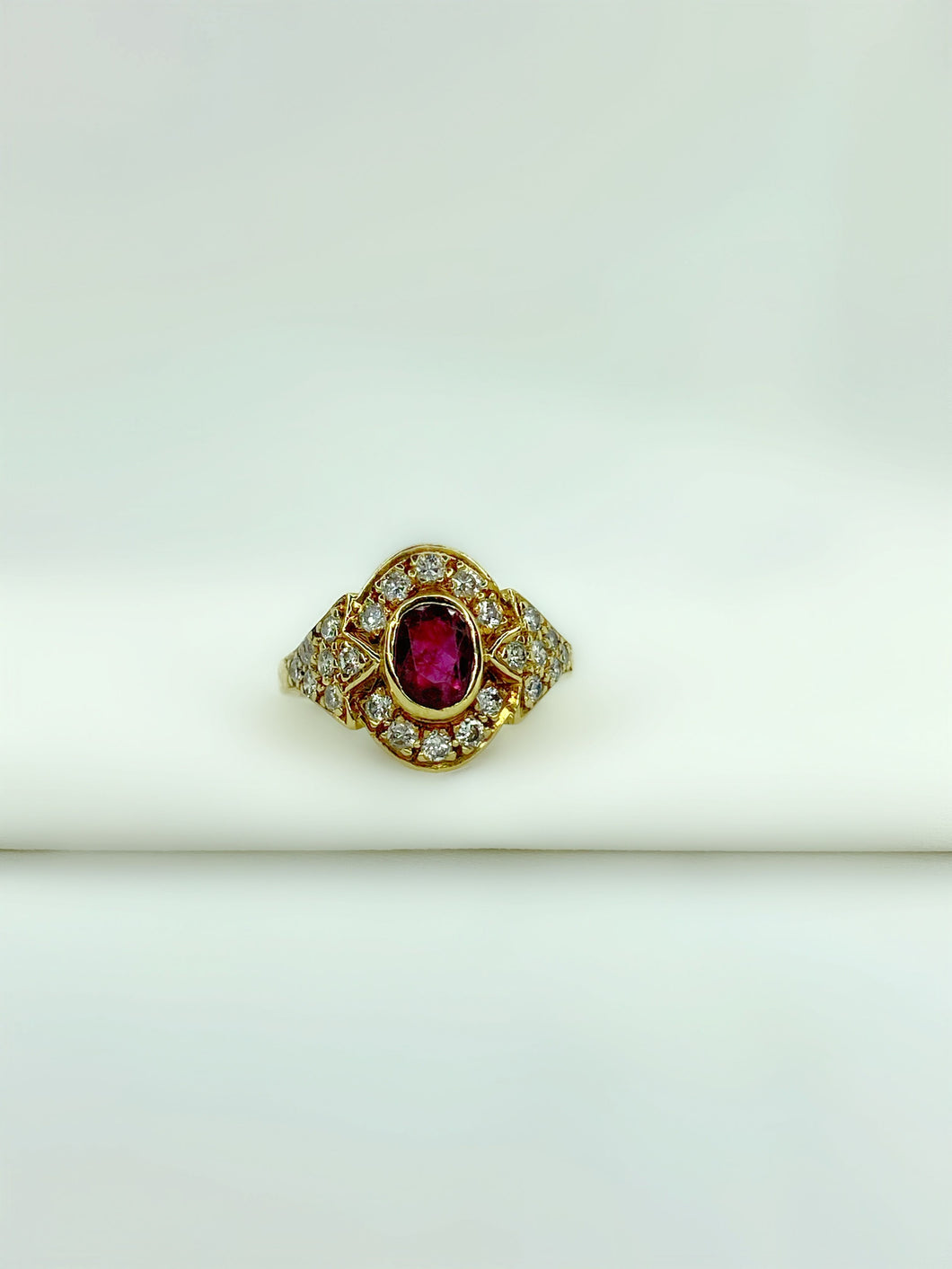 Ruby W/ Diamond Cluster Ring