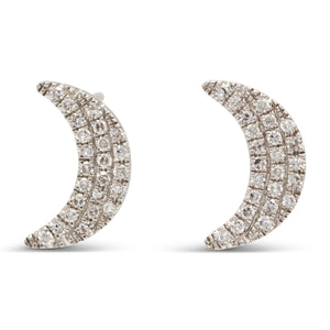 Crescent Moon Studs in 14K White Gold