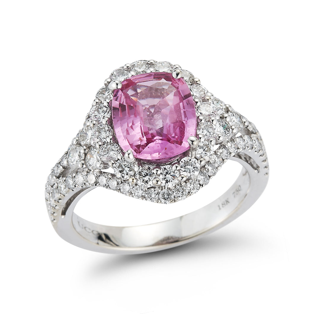 Natural Pink Sapphire & Diamond Ring