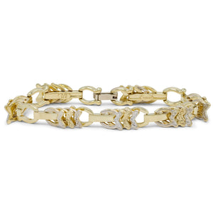 Abstract Fish Motif Bracelet in 14K Yellow/White Gold