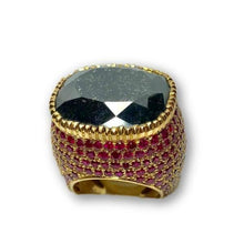 Load image into Gallery viewer, Black Cushion Cut Diamond and Ruby Encrusted Ring in 18K Yellow Gold