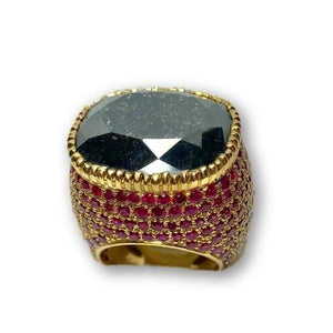 Black Cushion Cut Diamond and Ruby Encrusted Ring in 18K Yellow Gold