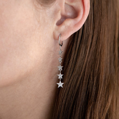 Diamond Stars Drop Earrings