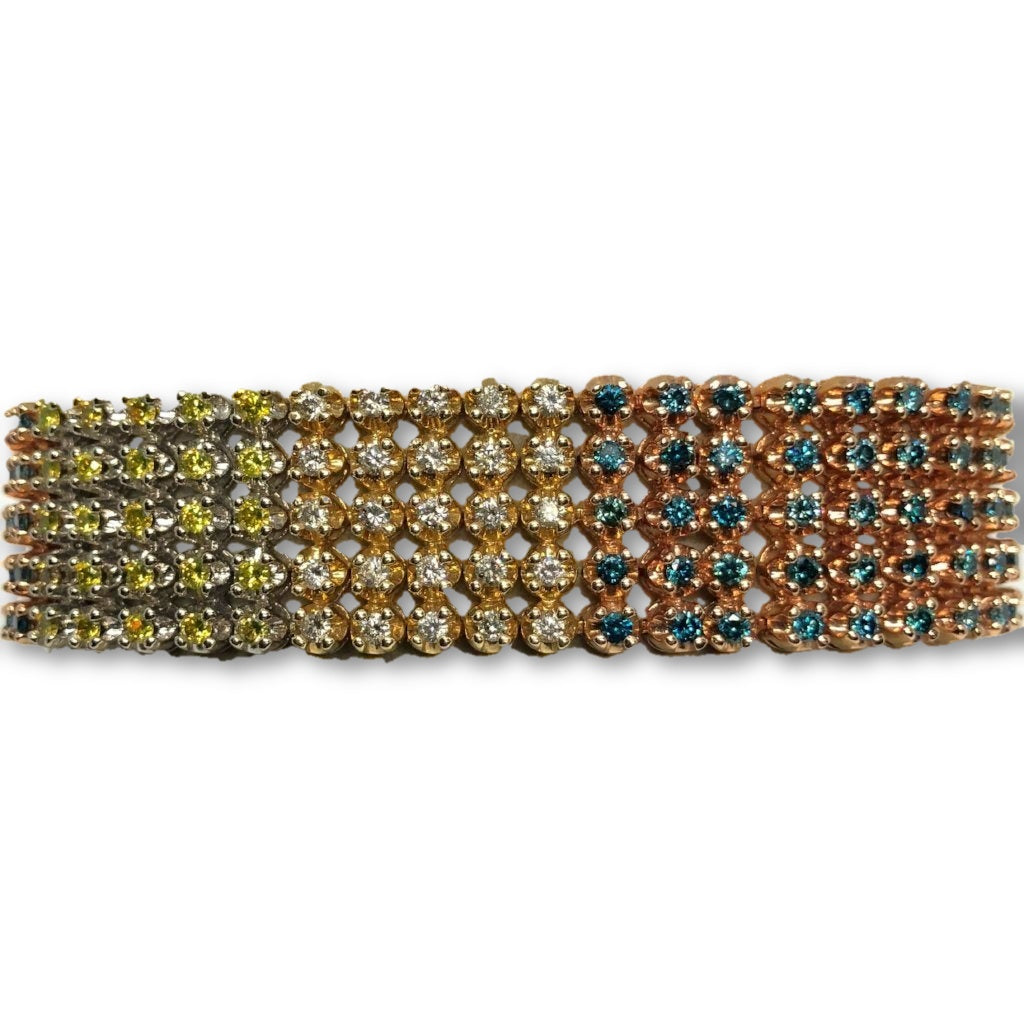 Tri-Rainbow Diamond Tennis Bracelet