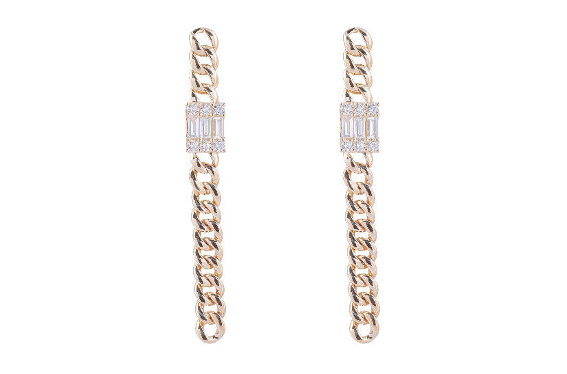 Cuban Baguette Drop Earring
