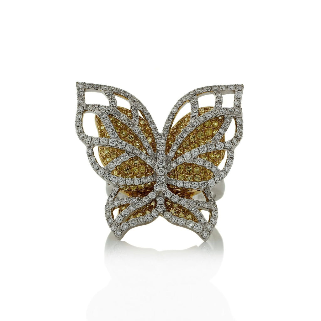 Whimsical Diamond Butterfly Ring