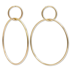 Circle Drop Earrings in 14K Yellow Gold