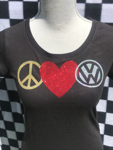 VW - Peace, LOVE, VW - T-Shirts