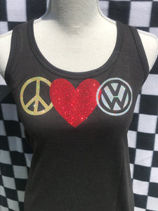 VW - Peace, LOVE, VW - Racerback Tanks