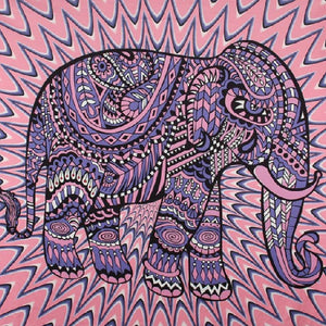 Mandala Elephant Tapestry - Pink and Purple