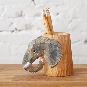 Hand Carved Wooden Elephant Pencil Holder