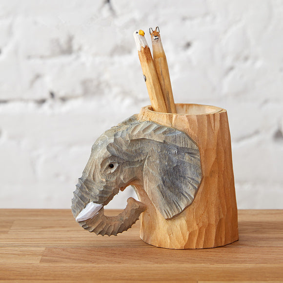 Hand-carved Wood  Pencil Holder Elephant