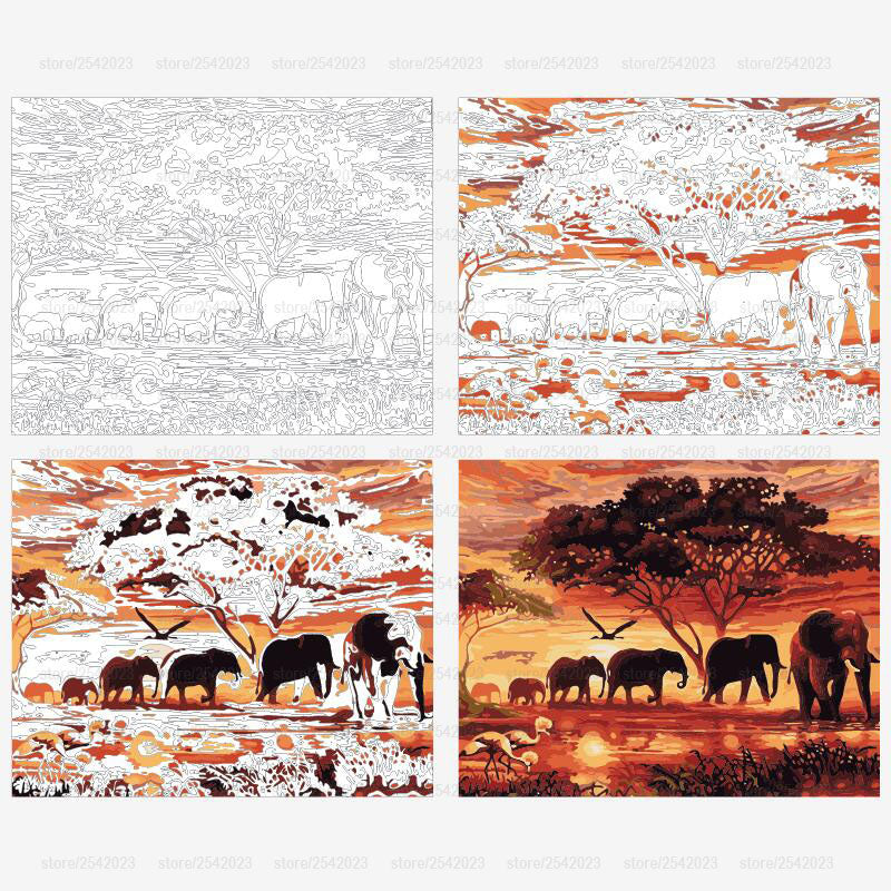 Elephants Landscape DIY Digital Painting By Numbers