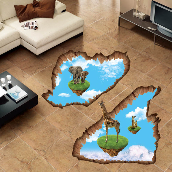 3D Floating Island Elephant and Giraffe Wall Stickers