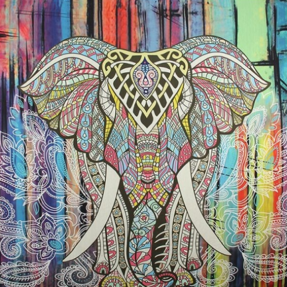 Mandala Elephant Tapestry - Striped