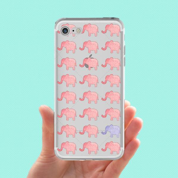Tribal Elephants Phone Case - Pink and Blue
