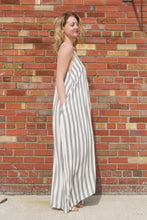 Before You Parachute Dress - White maxi dress with grey vertical stripes. Pair with a tan cardigan to wear on a chilly spring or summer night.