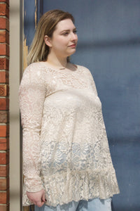 Before You Stonehenge Top - Sheer lace cream top. Looks cute paired with white cami underneath and a pair of light or dark wash jeans.