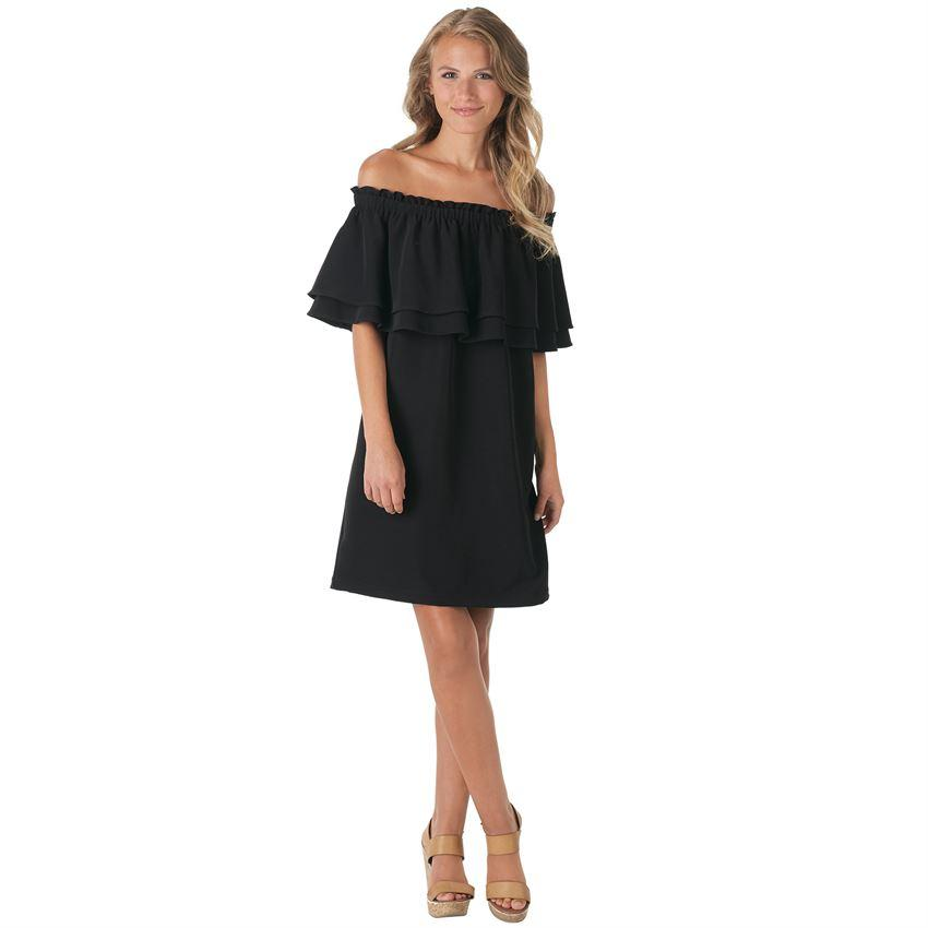 Mud Pie Pippa Off the Shoulder Dress - Off-the-shoulder crushed poly crepe dress features elasticized neckline and layered and tiered chest flounce detail. Measures approximately 30