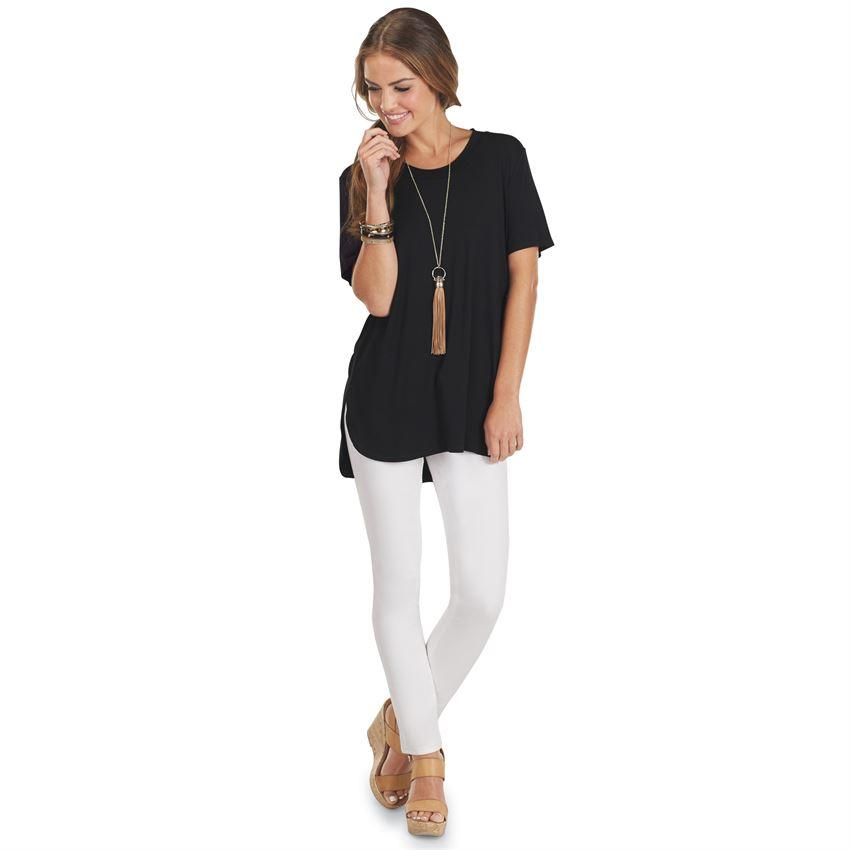 Mud Pie Tucker Tunic - Rayon/spandex short sleeve tunic features raised neckline binding and side vents at subtle high-low hem. Measures approximately 29