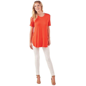 "Mud Pie Tucker Tunic - Rayon/spandex short sleeve tunic features raised neckline binding and side vents at subtle high-low hem. Measures approximately 29"" from shoulder to hem on size S/M."