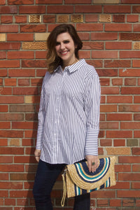 P. Cill Jailbait Top - Collared cream top with navy stripes. Would be cute with a pair of dark wash or black jeans.