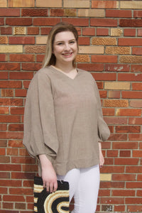 P. Cill Mochachino Top  - Flowy tan top with oversized sleeves. Looks cute paired with white jeans.