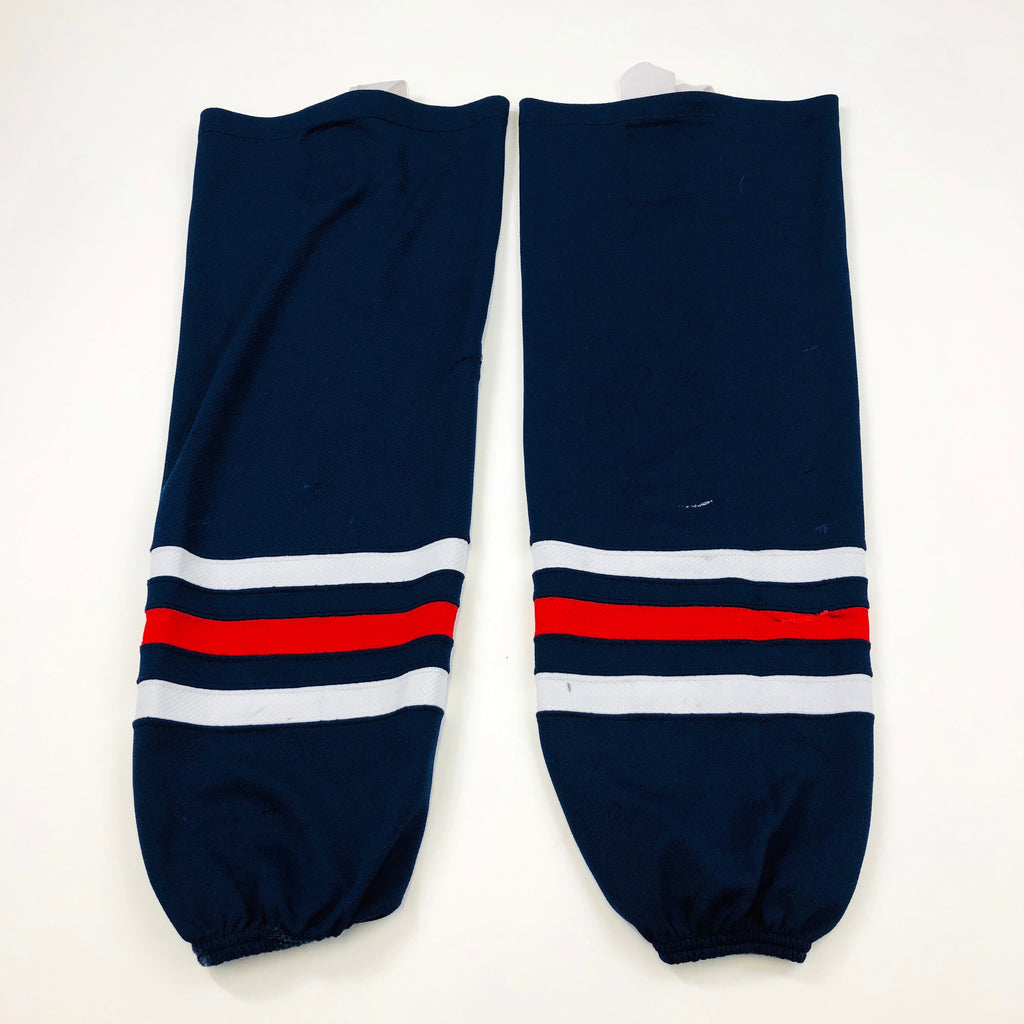 Used Navy Blue, Red, and White Hockey Socks