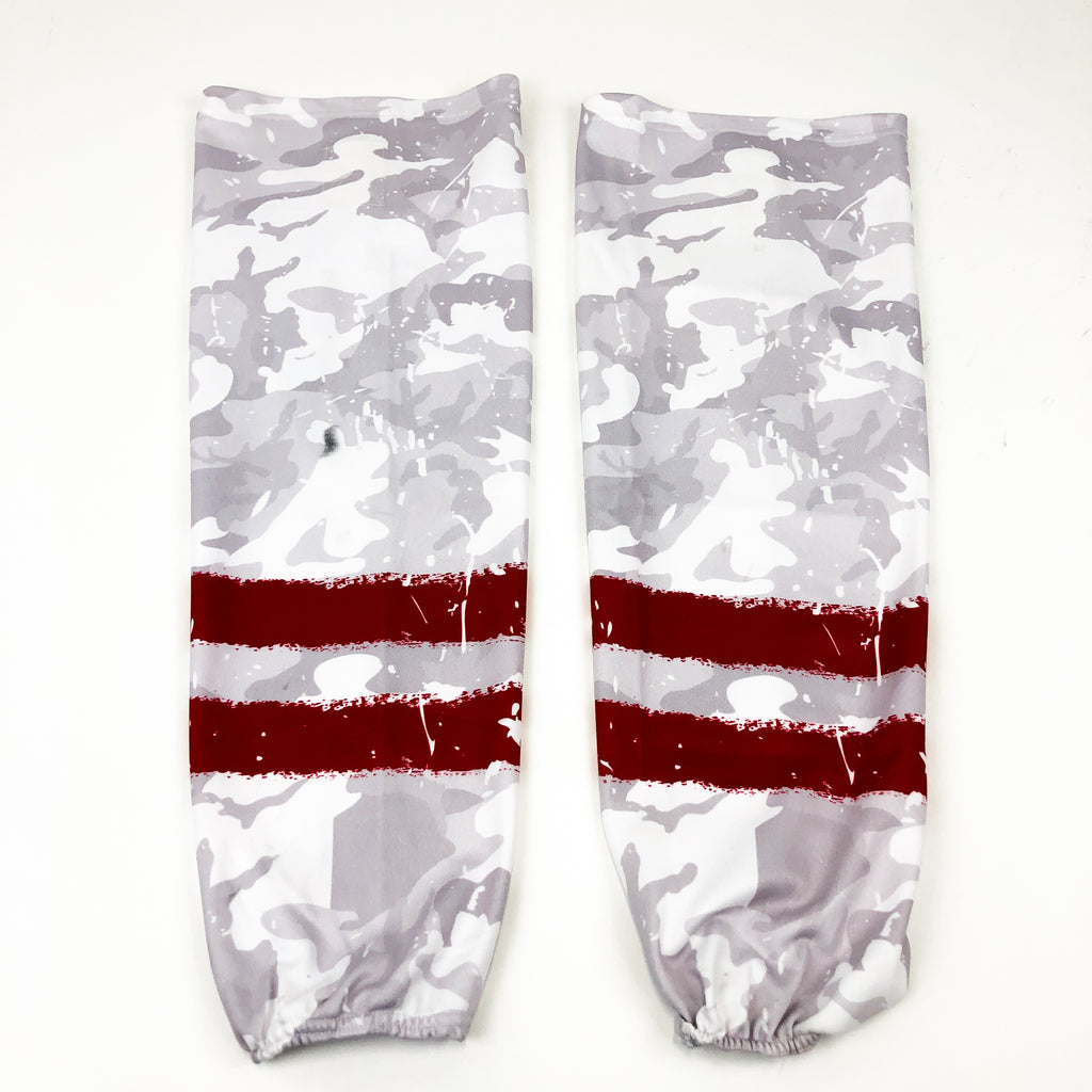 White Camo with Red Stripes Sublimated Hockey Socks / Adult Large
