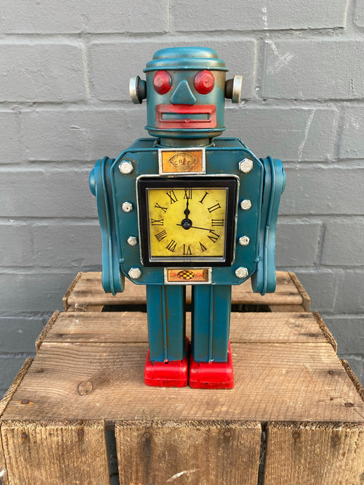 Blue Robot Clock ⏰