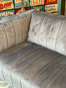 Fluted 3 Seater Sofa in Grey Velvet