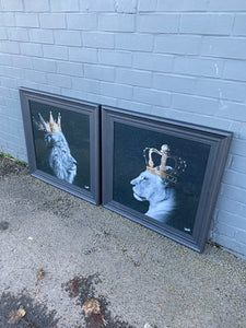 Large Lion King & Queen in Grey