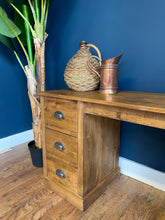 Rustic Pine Double Pedestal Dressing Table