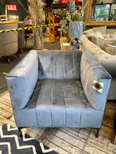 Fluted Armchair in Grey Velvet