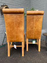 Pair of Cerato Leather Rollback Dining Chairs