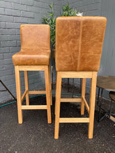 Pair of Cerato Leather Barstools