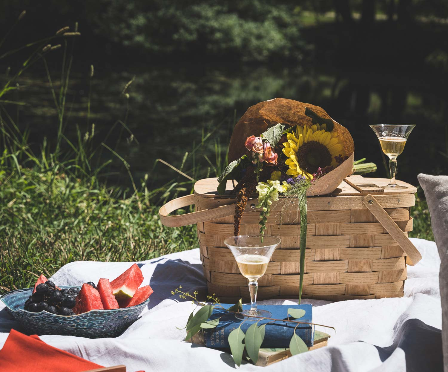 Vintage Picnic Baskets and Glasses