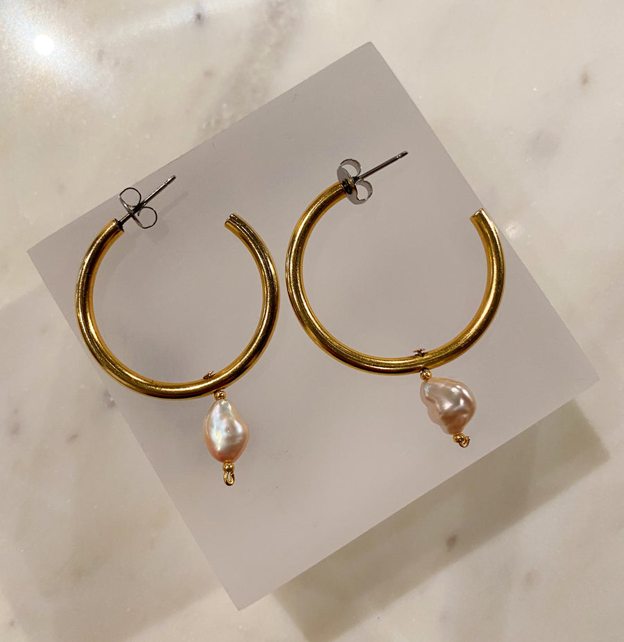 Small Gold Hoops with Pink Pearl Drops